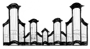 3 pav. XVIII a II p. Vilniaus mokyklos vargonų prospektų tipai: 1. Vilniaus Šv. Jonų bažnyčios didieji vargonai (1765–1766 m.)
