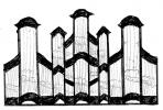 3 pav. XVIII a II p. Vilniaus mokyklos vargonų prospektų tipai: 2. Vilniaus Bernardinų (1764–1766 m.), Linkuvos (1764 m.) bažnyčių vargonai