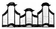 3 pav. XVIII a II p. Vilniaus mokyklos vargonų prospektų tipai: 3. Vilniaus Arkikatedros (XVIII a. 9-asis deš.), Budslavo (1783 m.) bernardinų bažnyčių vargonai