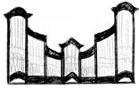 3 pav. XVIII a II p. Vilniaus mokyklos vargonų prospektų tipai: 5. Stakliškių (po 1782 m.) bažnyčios vargonai