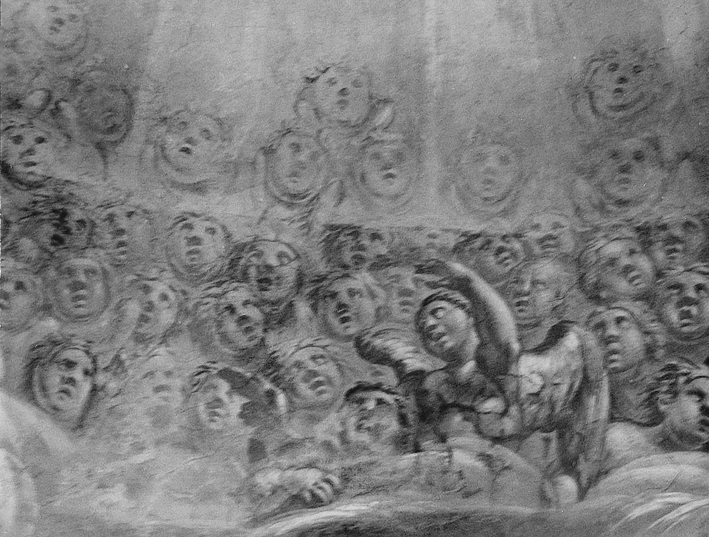 3 il. Džiūgaujantys cherubinai. Kupolo freskos fragmentas. Fot. Jonas Šaparauskas. 1988 m.