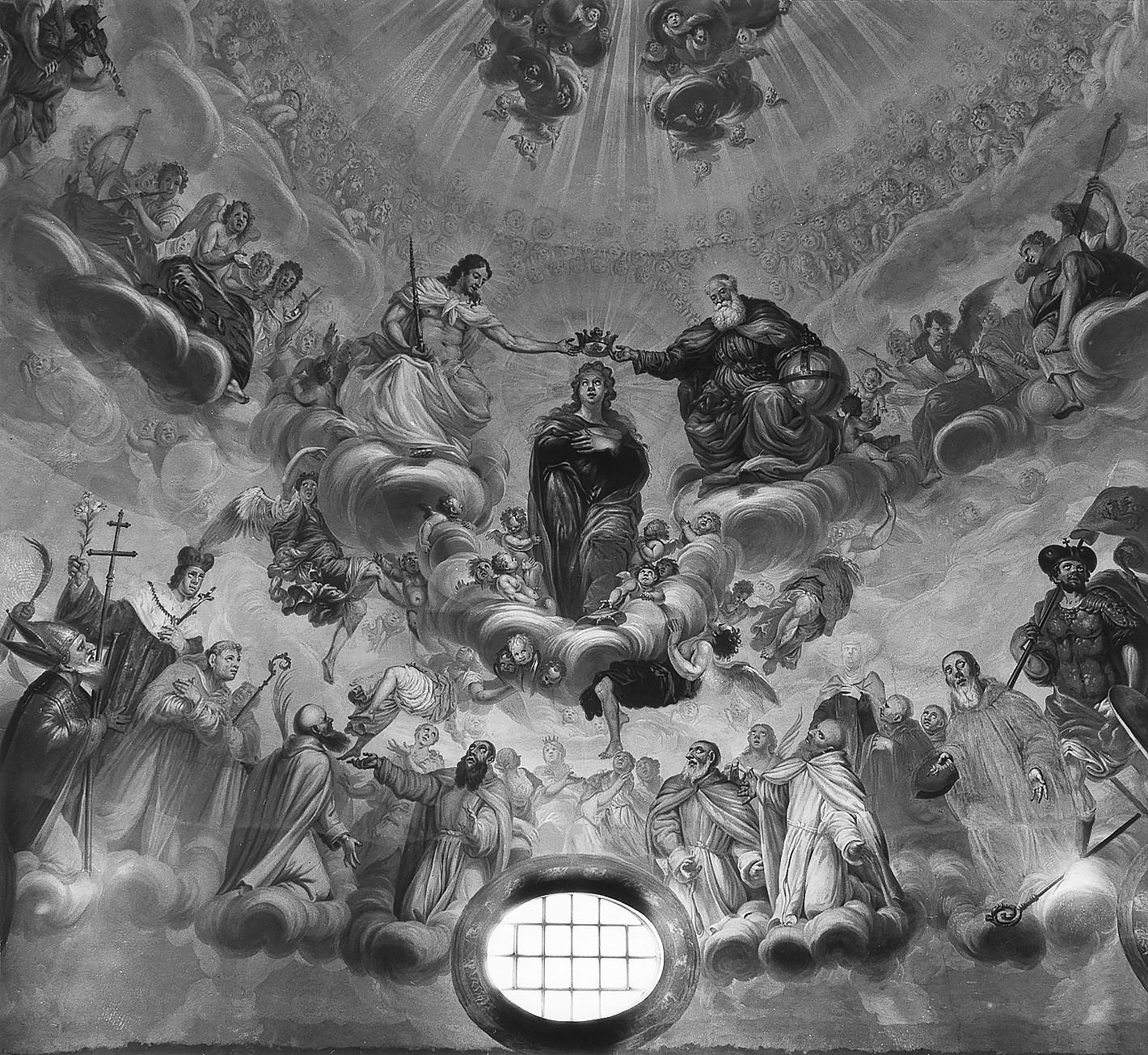 6 il. Švč. Mergelės Marijos vainikavimas danguje serafimų, cherubinų, muzikuojančių angelų ir šventųjų apsuptyje. Kupolo freska. Fot. Jonas Šaparauskas. 1988 m.
