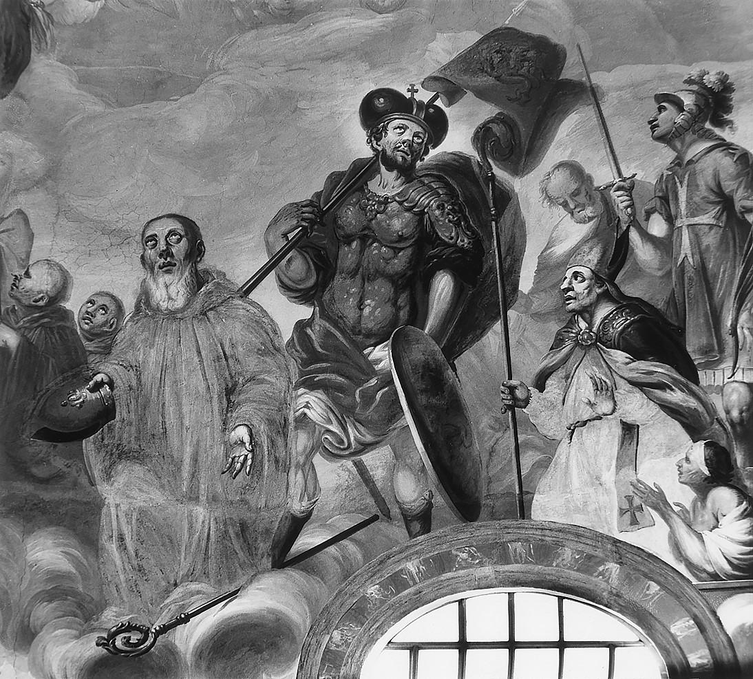 7 il. Šventųjų Benedikto, Čekijos kankinio Vaclovo ir Stanislovo, prikeliančio Piotroviną, grupė. Šventųjų rato fragmentas. Fot. Jonas Šaparauskas. 1988 m.