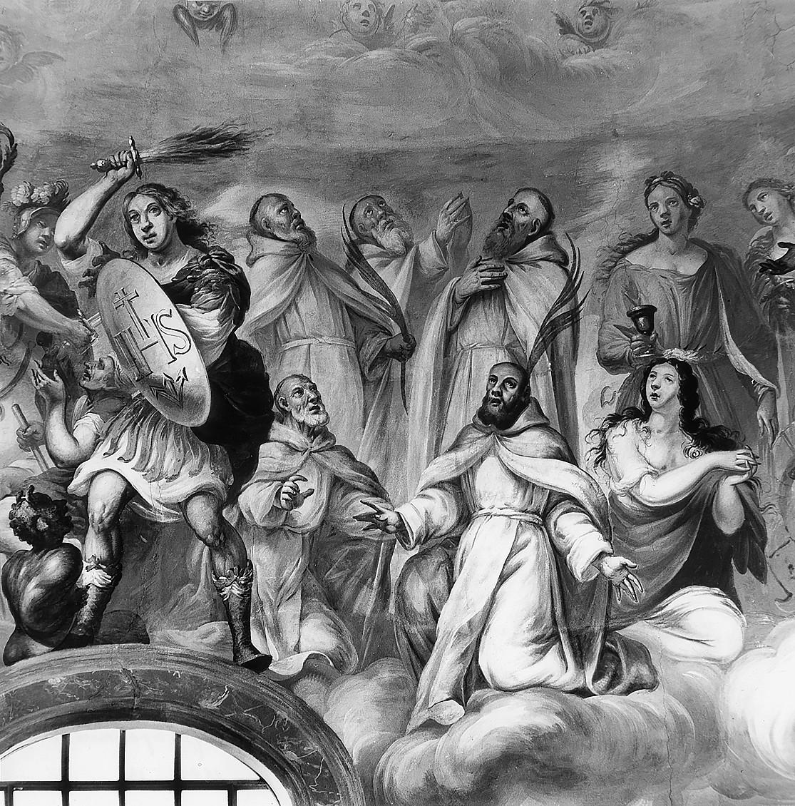 9 il. Šv. Mykolas arkangelas ir penki benediktinų kankiniai. Šventųjų rato fragmentas. Fot. Jonas Šaparauskas. 1988 m.