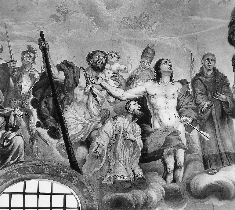 10 il. Šventieji Sebastijonas, Ignacas ir Kristupas su kūdikiu Jėzumi. Šventųjų rato fragmentas. Fot. Jonas Šaparauskas. 1988 m.