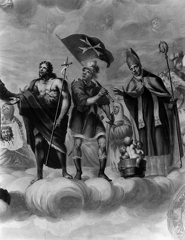 11 il. Šventosios Veronika ir Skolastika, šventieji Jonas Krikštytojas ir Mikalojus. Šventųjų rato fragmentas. Fot. Jonas Šaparauskas. 1988 m.