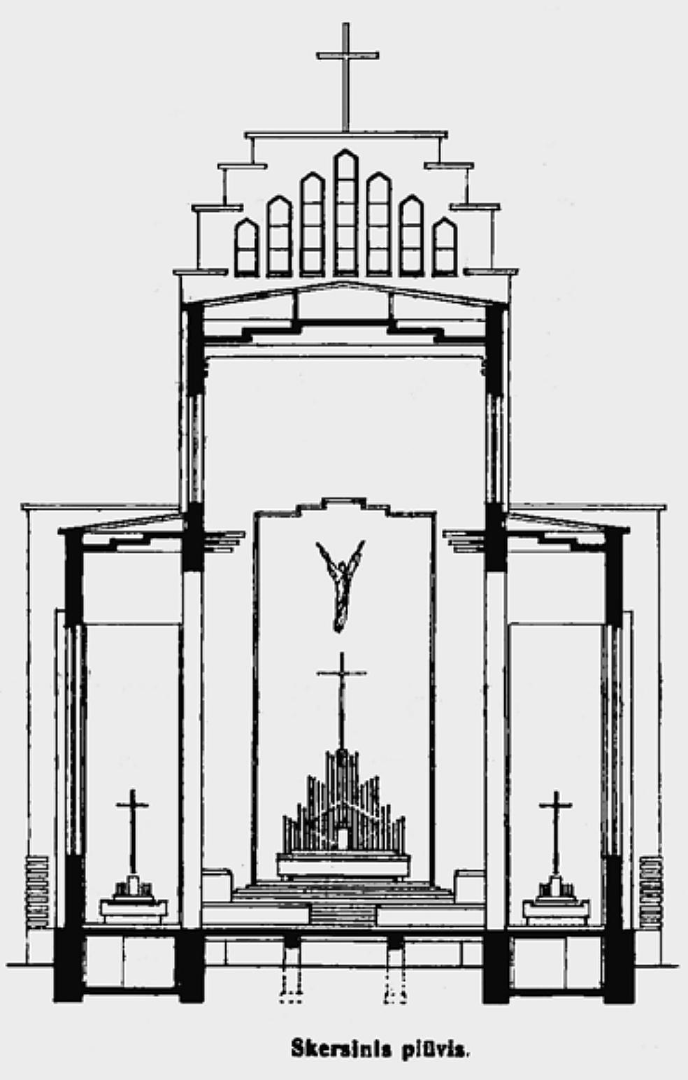 """6 il. Karolis Reisonas, """"Kristaus Prisikėlimo bažnyčia"""", skersinis pjūvis"""