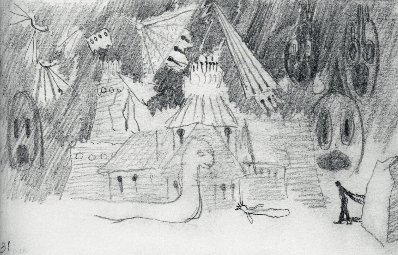 """3 pvz. Mikalojus Konstantinas Čiurlionis. Operos """"Jūratė"""" dekoracijos eskizas (1908)"""
