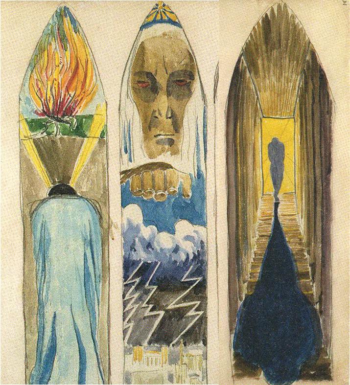 """10. M. K. Čiurlionio vitražų triptiko """"Mozė"""" eskizai (1904)"""