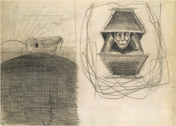 """8. M. K. Čiurlionio paveikslo """"Nojaus arka"""" kompozicijos eskizas (1904/05)"""