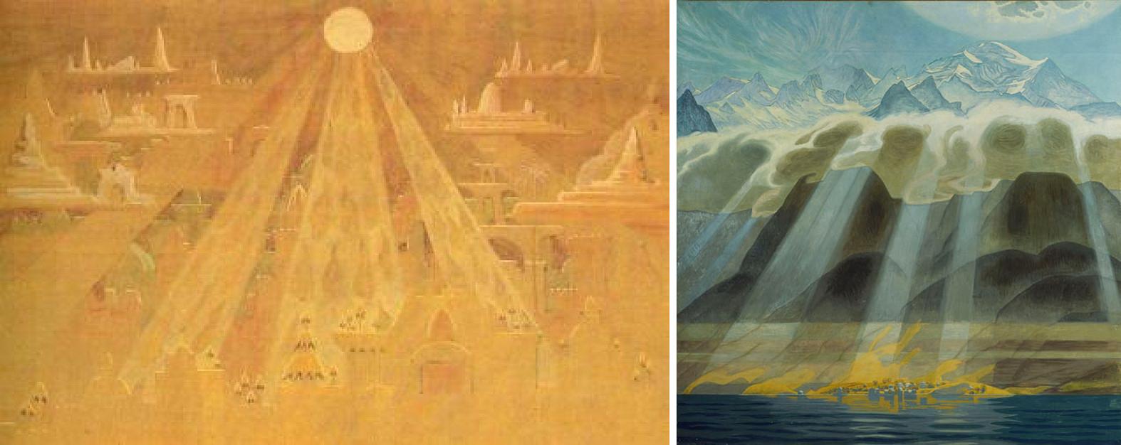 """M. K. Čiurlionio """"Piramidžių sonatos"""" (nr. VII) [I]Scherzo [/I](1909) ir J. F. Willumseno """"Saulė virš pietinių kalnų"""" (1902)"""