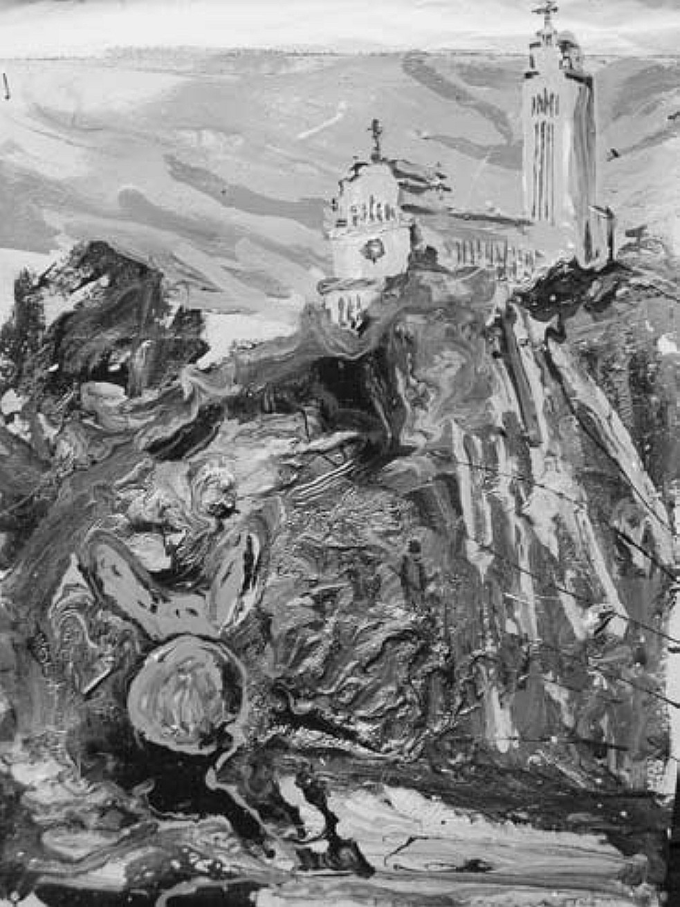 "1 il. Aušra Barzdukaitė-Vaitkūnienė, ""Prisikėlimo bažnyčia: sapno realybė"", 2008, pop., emal. 40 × 30 cm"