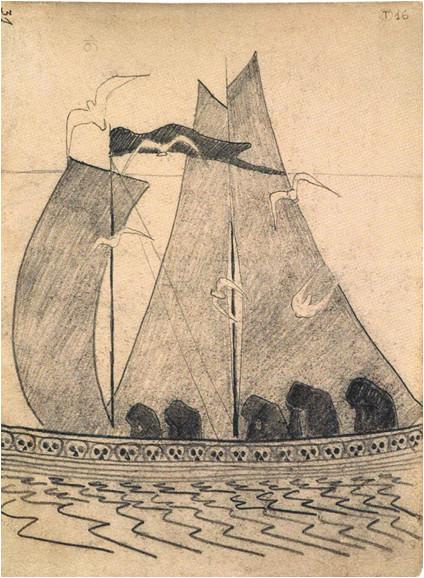 "7. M. K. Čiurlionio kompozicijos eskizas ""Laivas"" (1907/08)"