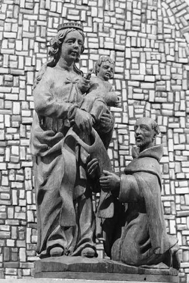 1 il. Šv. Simono Stoko vizija. XV a. Aylesfordo karmelitų vienuolyno koplyčia. Foto: A. Rusteikienė, 2011