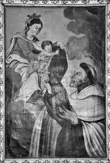 4 il. Šv. Simono Stoko vizija. 1738 m. Linkuvos Švč. M. Marijos Škaplierinės bažnyčia. Foto: A. Rusteikienė, 2000
