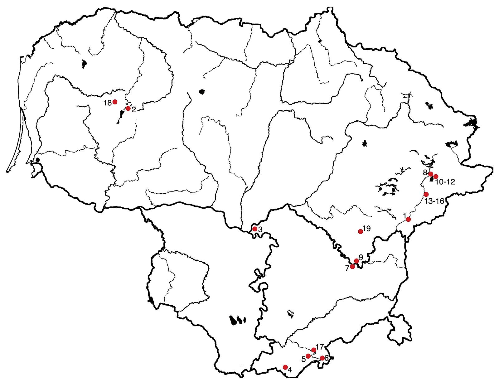 1 žemėlapis. Ikineolitinių gyvenviečių, kuriose aptikta netitnaginių uolienų radinių, paplitimas Lietuvoje (parengė Gabrielė Gudaitienė) / Map no. 1. Pre-Neolithic settlements in Lithuania where non-flint raw material artifacts were found
