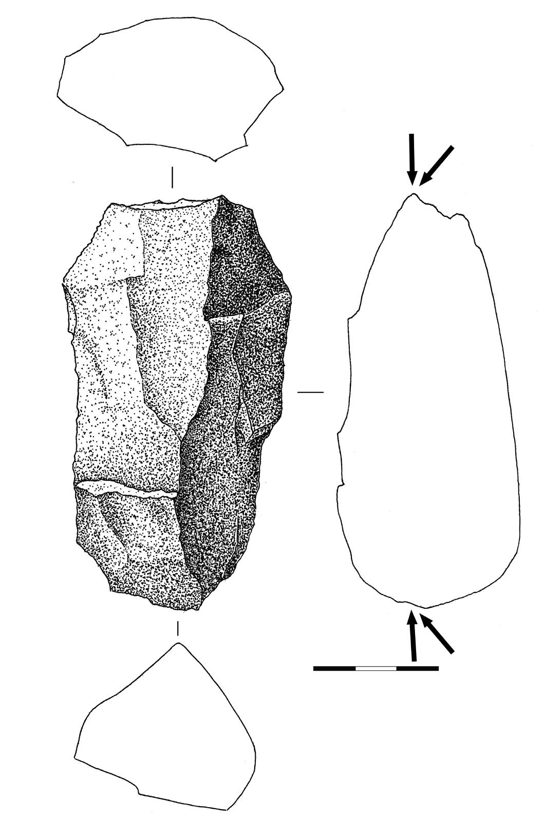 19 pav. Skaldytinis, Pasieniai 1, nr. 219, kvarcitas (Gabrielės Gudaitienės piešinys) / Fig. 19. Quartzite core no. 219 from Pasieniai 1 site