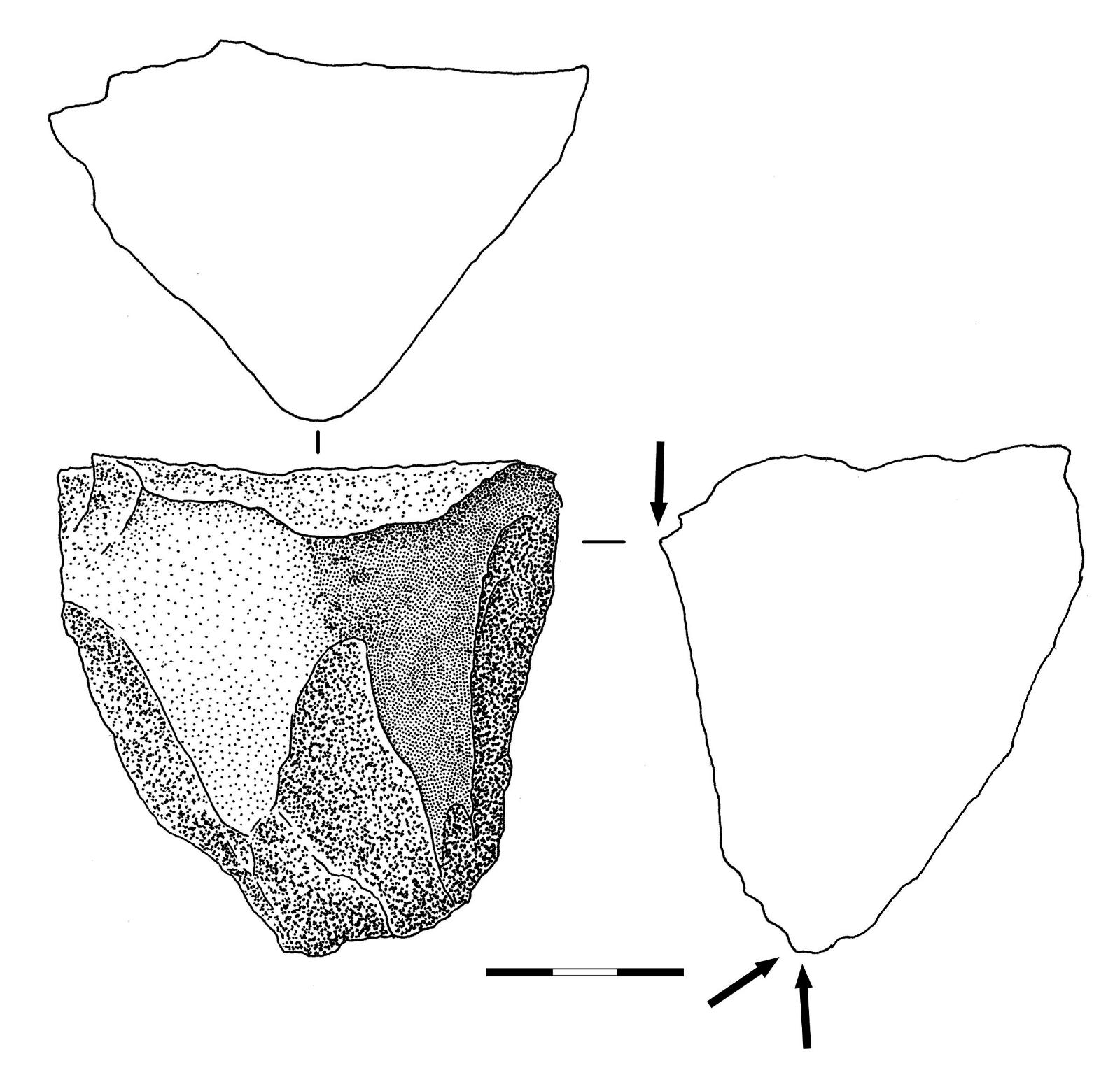 22 pav. Skaldytinis, Pasieniai 1, Nr. 605, jotnio smiltainis (Gabrielės Gudaitienės piešinys) / Fig. 22. Jotnian sandstone core no. 605 from Pasieniai 1 site