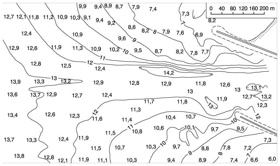 8 pav. Klaipėdos uosto barinio įplaukos kanalo batimetrinis planas, parengtas pagal uosto tarnybų 1989 08 28 matavimų duomenis / Fig. 8. A bathymetry plan of the Klaipėda Harbor bar entrance channel, compiled according to the measurements done by harbor services on 28 August 1989