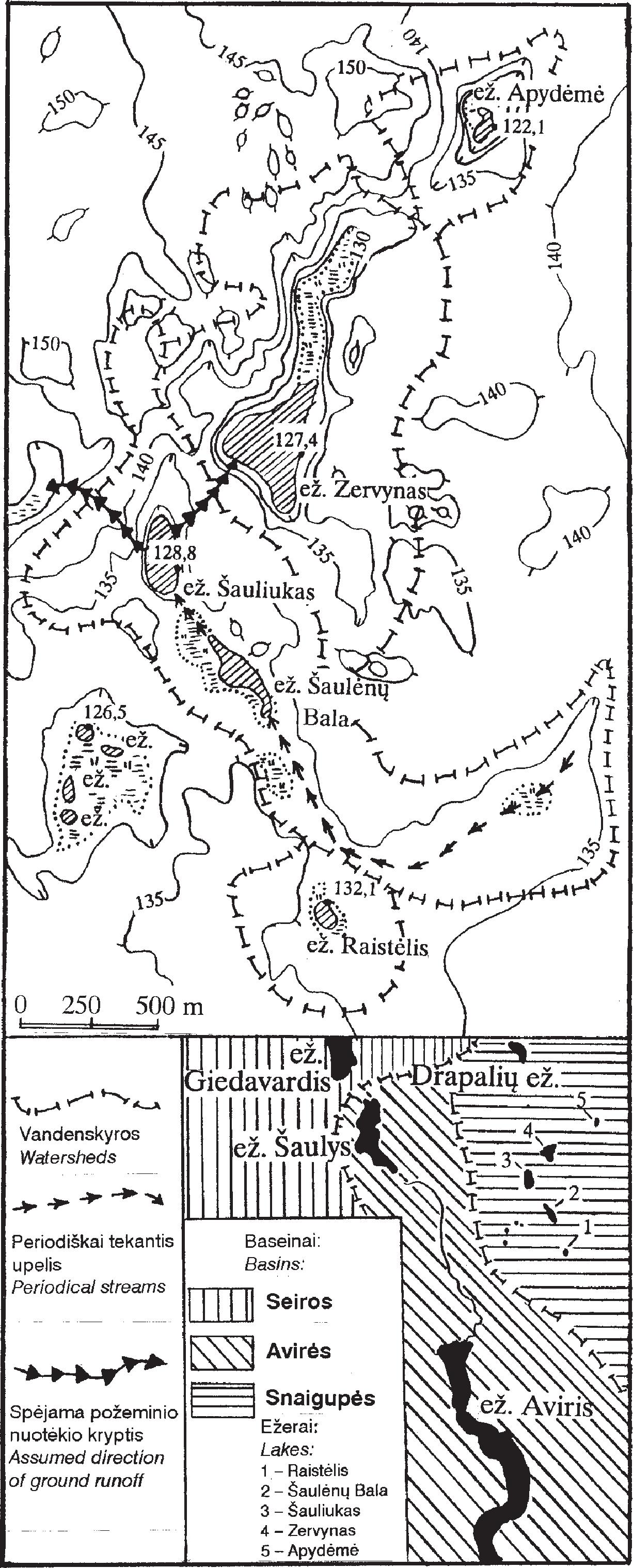 Pav. Ekspedicijose tirta Snaigupės baseino dalis / Fig. Part of the Snaigupė basin investigated in situ