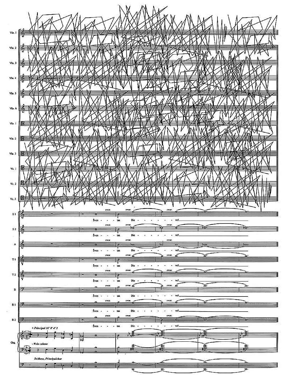 """5 pvz. G. Sakalauskas. """"Meldimai"""" – keturi kanonai chorui, styginių orkestrui arba fonogramai ir vargonams. IV kanonas """"Šventas Dieve"""""""