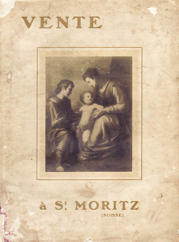 """4 pav. Aukciono, vykusio 1913 m. vasarį viešbutyje """"Savoy"""" Sankt Morice, Šveicarijoje, katalogo viršelis"""