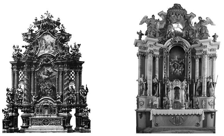 3 pav. XVIII a. retabulai: J. M. Götz, Šv. Mykolo bažnyčia Passau, 1720–1730; Prienų Kristaus Apsireiškimo bažnyčios didysis altorius, 1767–1769 (S. Ašmenavičiūtės schemos ir rekonstrukcija)