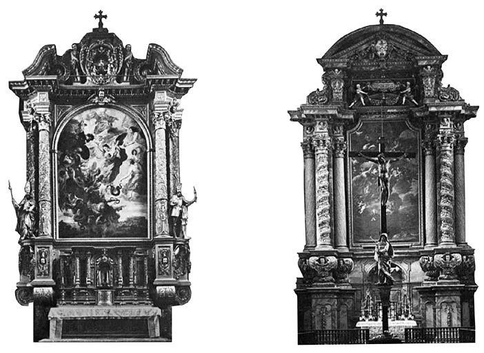 2 pav. XVII a. vidurio retabulai: Philip Dirr, Freisingo katedra, 1625; Landshuto Jėzuitų bažnyčia, 1663 (S. Ašmenavičiūtės schemos, 2011)