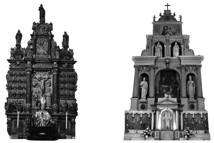 1 pav. XVII a. I ketvirčio retabulai: Kiedrich am Rheingau (Vokietija) Šv. Valentino bažnyčia, 1620; Skarulių Šv. Onos bažnyčia, po 1622 (S. Ašmenavičiūtės schemos, 2011)