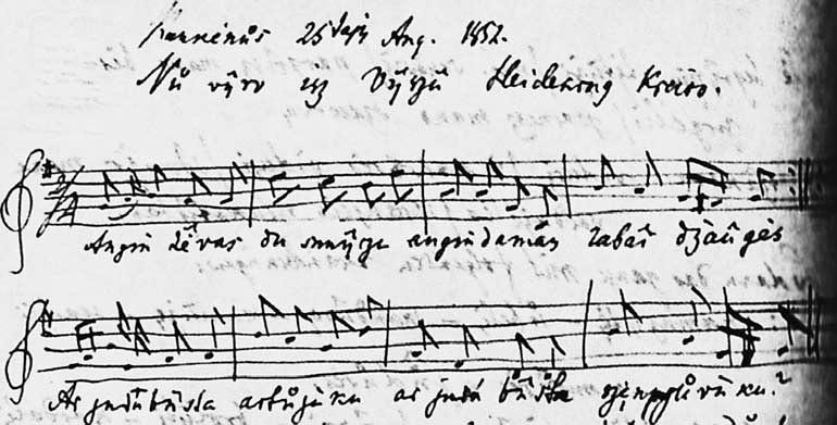 """3 pav. A. Schleicherio 1852 m. rugpjūčio 25 d. laiške P. Šafaříkui esančios dainos """"Augin tėvas du sūnyčiu"""" melodijos rankraštis"""