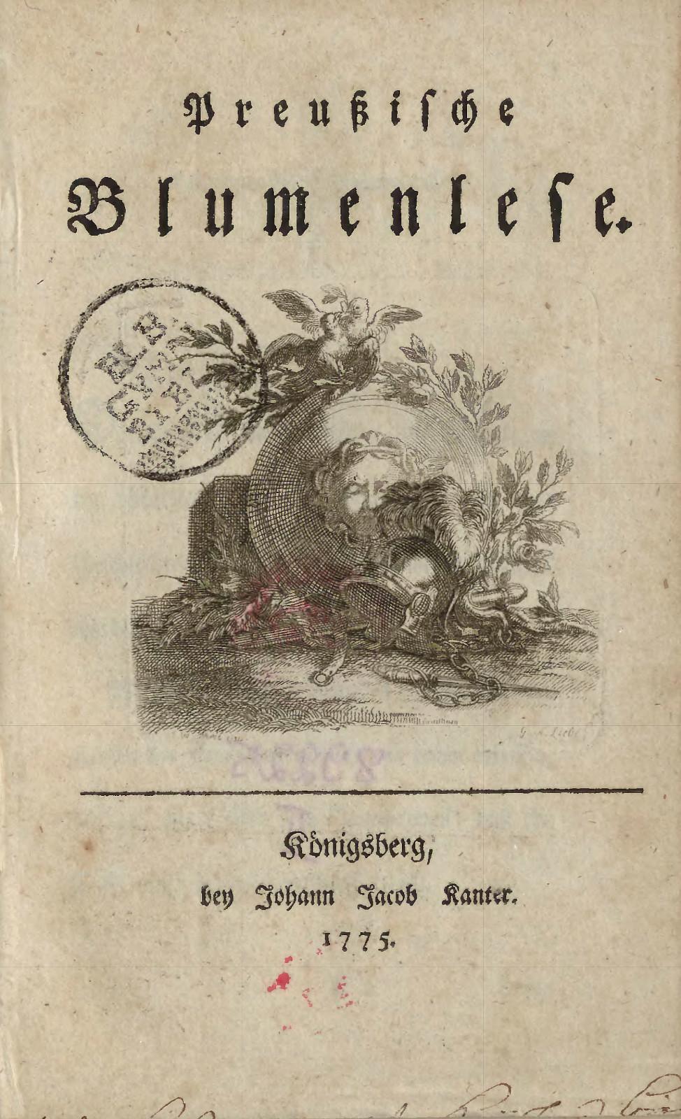 "2 pav. 1775 m. Karaliaučiuje leisto almanacho ""Preussische Blumenlese"" titulinis puslapis"