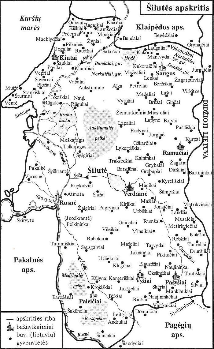 1 pav. Šilutės apskrities žemėlapyje pažymėtos vietovės, kuriose XIX a. užrašytos lietuviškos dainos su melodijomis
