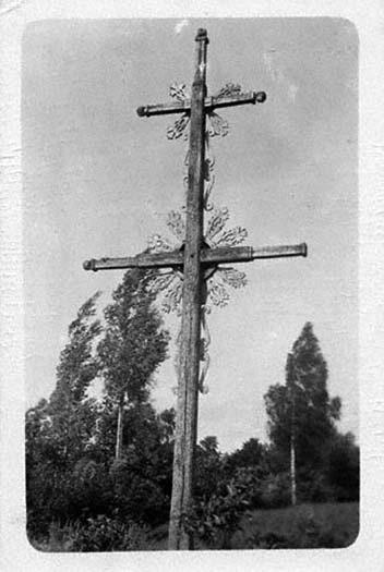 1 pav. Kryžius, statytas 1896 m., ties Indijos kaimu, prie Šilalės–Pagramančio kelio. A. Varno nuotr., 1924. LDM LF-141