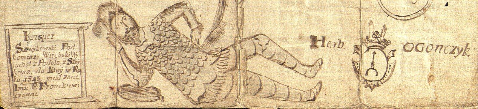 3 pav. Lietuviškos Šveikovskių linijos pradininkas Kasparas Šveikovskis, XVIII a. LMAVB RS, f. 21, b. 921, l. 1