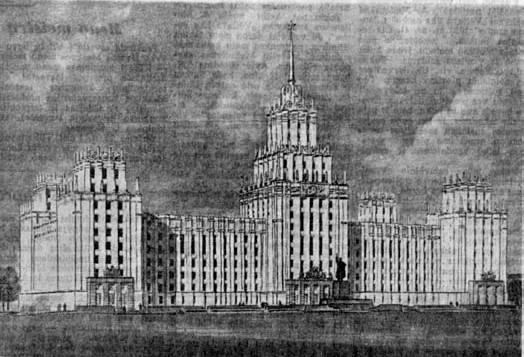 3 pav. Vyriausybės rūmų Tarybų aikštėje projektas, archit. Vladimiras Afanasjevas, 1952