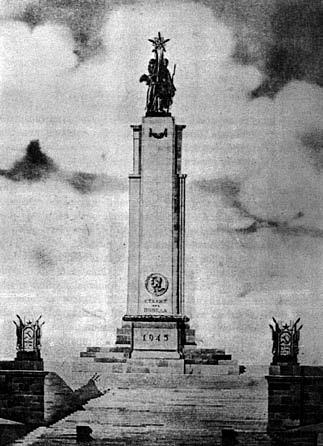 "2 pav. Antrajame ""Pergalės"" paminklo Vilniuje konkurse antrąja paskatinamąja premija apdovanotas V. Anikino, I. Medvedevo ir V. Mikučianio pasiūlymas, 1948"