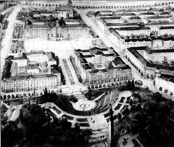 1 pav. V. Mikučianio pasiūlymas centrinio Vilniaus ansamblio detalizavimo konkursui: panoraminis naujosios ašies vaizdas, 1947