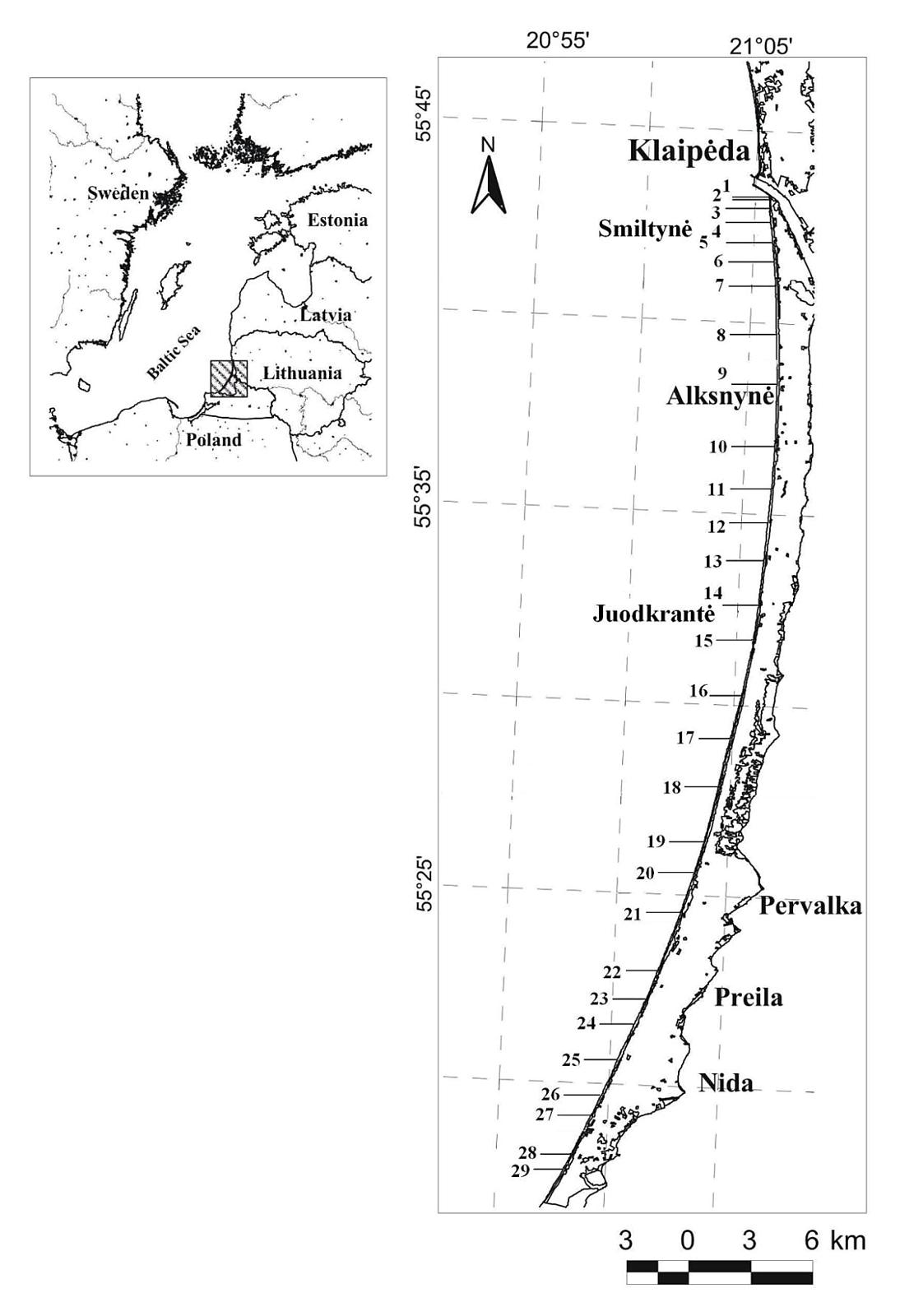 1 pav. Tyrimų rajonas. Brūkšneliais nurodytos tyrimų profilių vietos / Fig. 1. Location map. Lines with numbers are sites of investigation profiles
