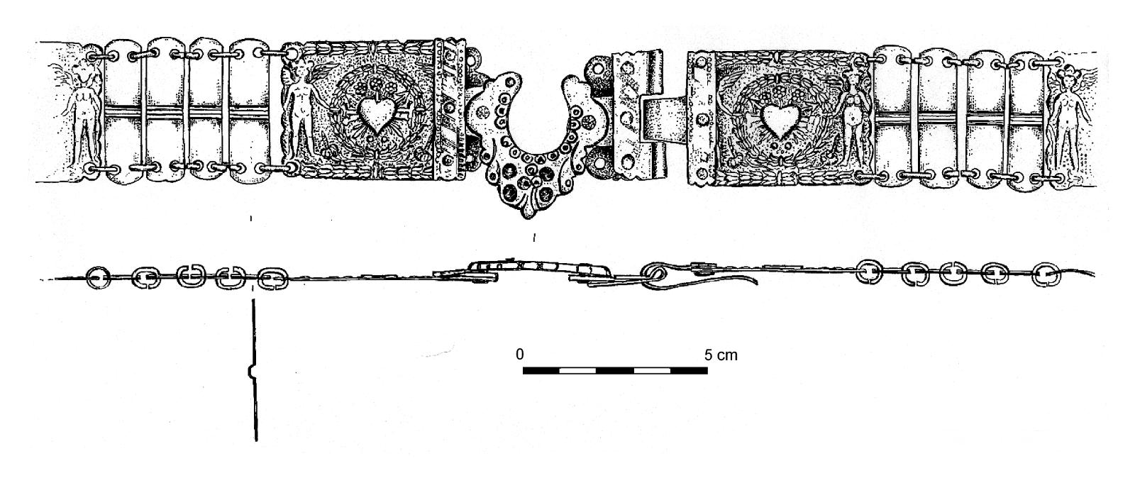 6 pav. Metalinio sudėtinio diržo iš Rusnės senkapių moters kapo nr. 18 priekinė dalis. LNM Archeologijos skyriaus fondai. Vario lydinys, sidabro dangos liekanos. Piešė A. Ruzienė / Fig. 6. Front part of a composite metal belt from Women's Grave 18, Rusnė Old Cemetery. Copper alloy with remnants of silver plating. LNM Archaeological Dept. Pinxit A. Ruzienė