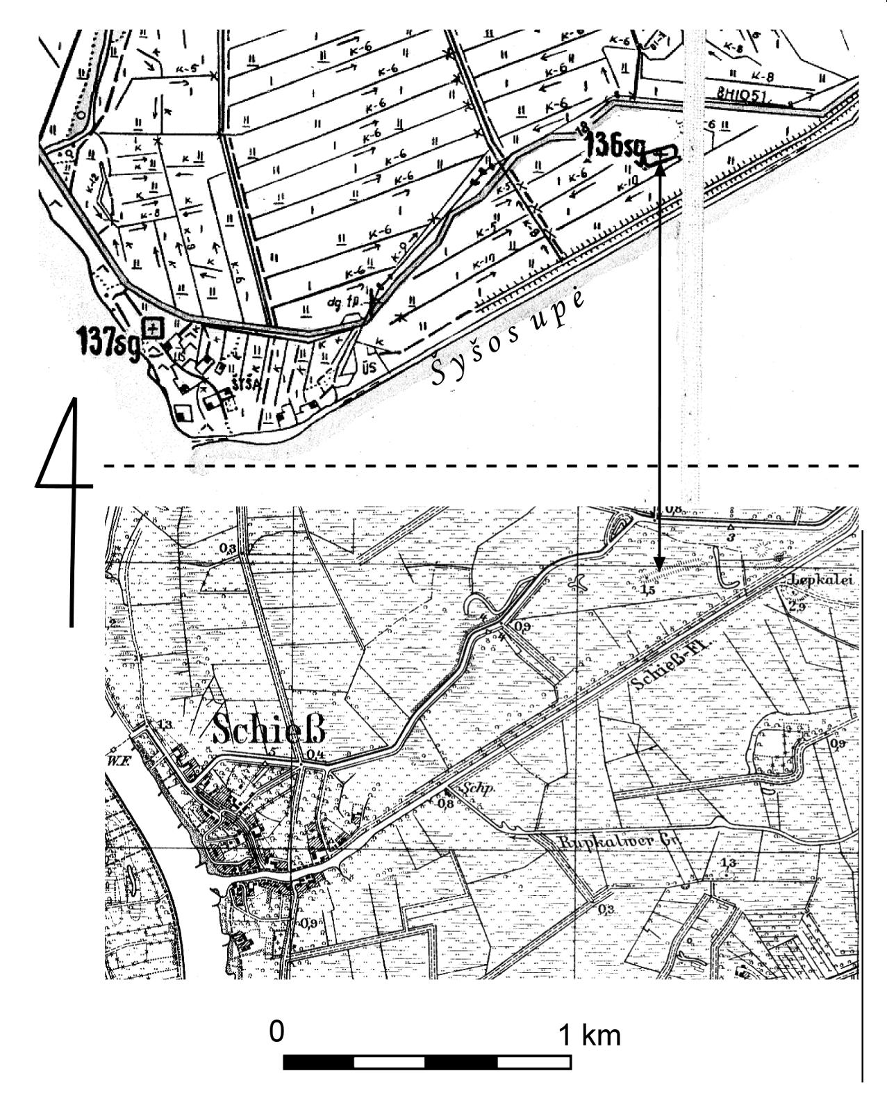 """2 pav. Viršuje – žemėlapio """"Šilutės rajono Kintų J. Čiulados žuvininkystės ūkis: gamtos, istorijos ir kultūros paminklai"""" (1984 m.) fragmentas, vaizduojantis dešinįjį Šyšos krantą su pažymėta Švedkapių (šifras 136sg) ir sunaikintų Šyšos kaimo kapinių (šifras 137sg) vietomis (pagal VIVŽF archyvo nr. 8-01-48). Apačioje – 1912 m. topografinis žemėlapis. Linija su rodyklėmis rodo Švedkapių vietą / Fig. 2. Above – Part of a map """"Šilutės rajono Kintų J. Čiulados žuvininkystės ūkis: gamtos, istorijos ir kultūros paminklai"""" (1984) showing the right side of the village of Šyša with the Švedkapiai (136sg) and desecrated village cemetery (137sg) (VIVŽF Archive No. 8-01-48). Below – 1912 topographical map showing the site of the Švedkapiai"""