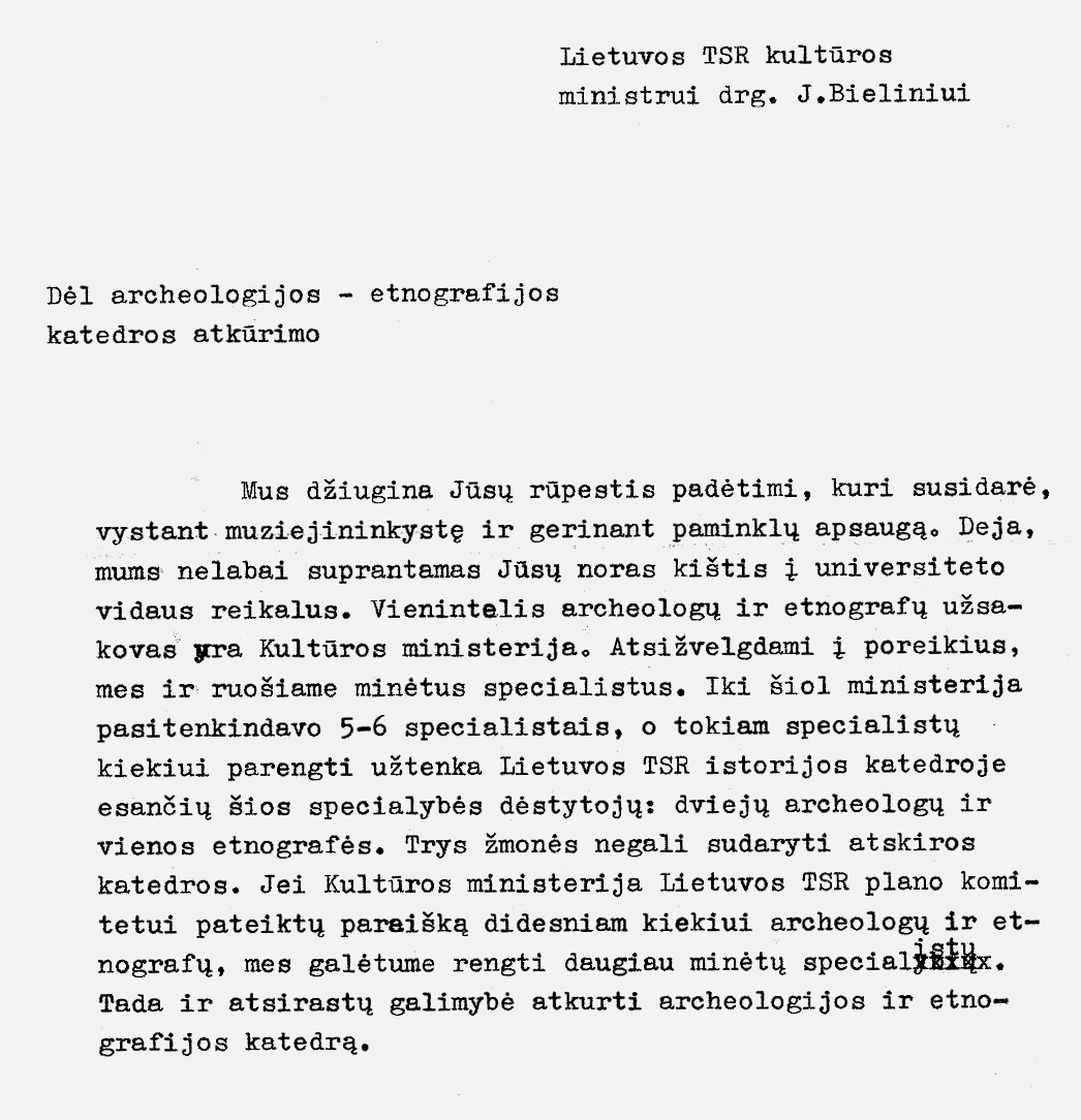 2 pav. Rektoriaus J. Kubiliaus raštas ministrui J. Bieliniui