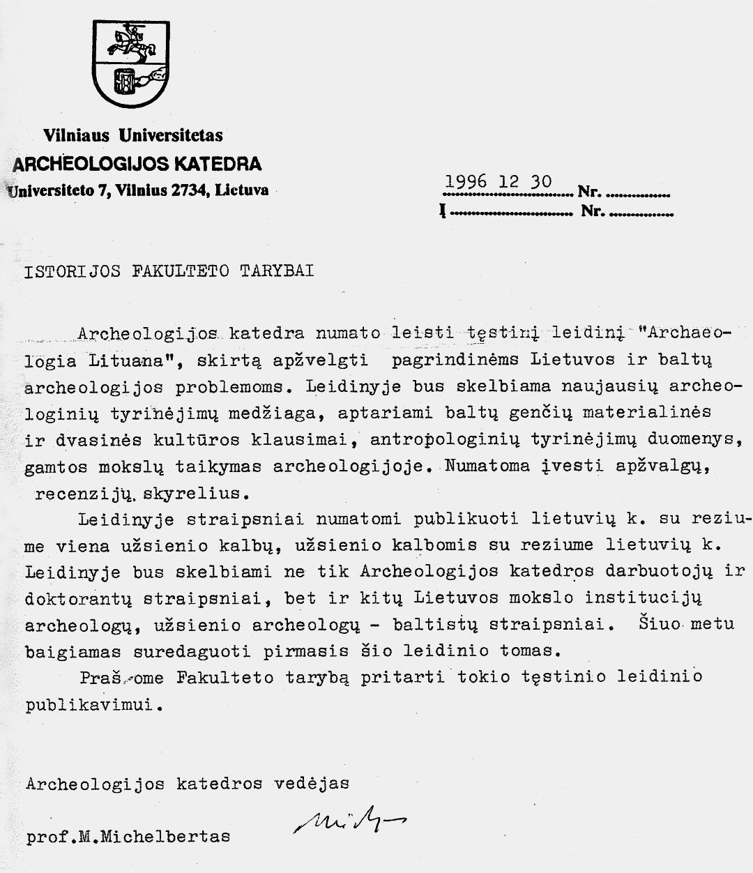 """3 pav. M. Michelberto raštas dėl leidinio """"Archaeologia Lituana"""""""