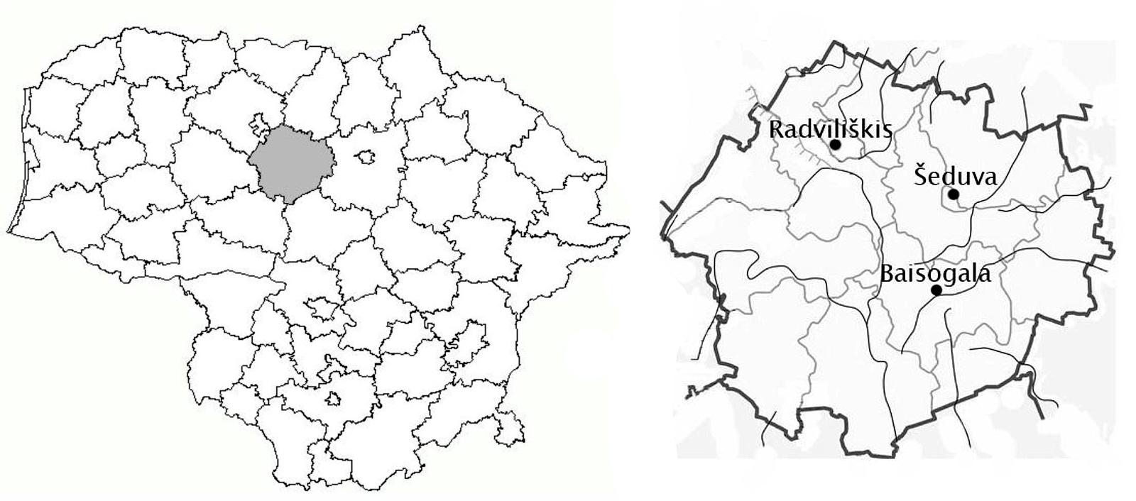 1 pav. Radviliškio rajonas (kairėje), Radviliškio, Šeduvos mst. ir Baisogalos mstl. (dešinėje)