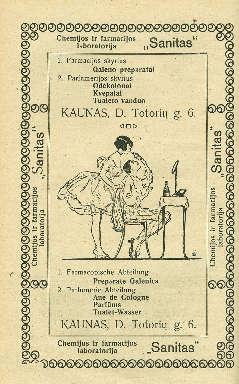 """4 pav. Pastatomas veidrodėlis chemijos ir farmacijos laboratorijos """"Sanitas"""" reklamoje"""