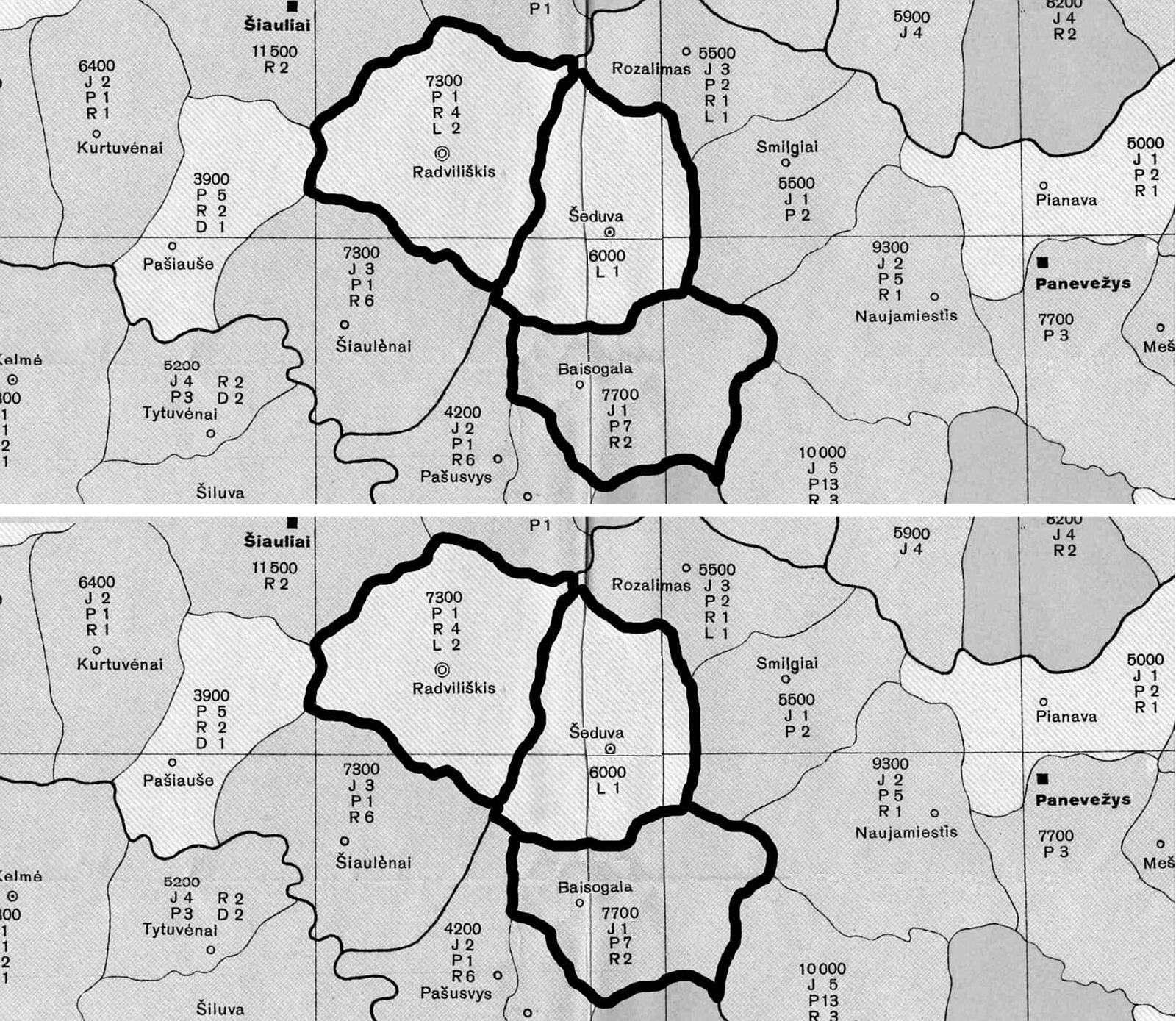 2 pav. Radviliškio, Šeduvos ir Baisogalos valsčiai