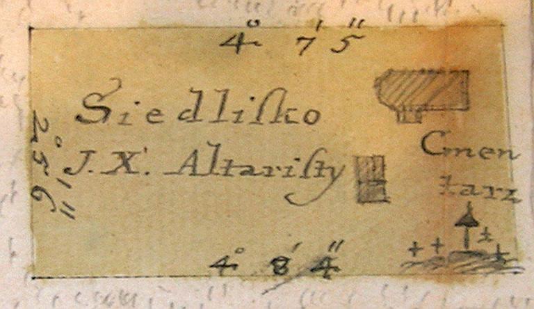4 pav. Karklėnų bažnyčios altaristos žemių brėžinys. Fragmentas. 1766 m. LVIA. F. 1671. Ap. 4. B. 351. L. 3