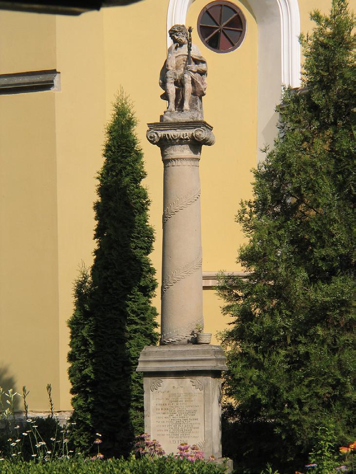 2 pav. Mūrinis stulpas su Susimąsčiusio Kristaus skulptūra. 1756 m. Podolės Kameneco katalikų katedros šventorius. V. Balčyčio nuotr., 2008