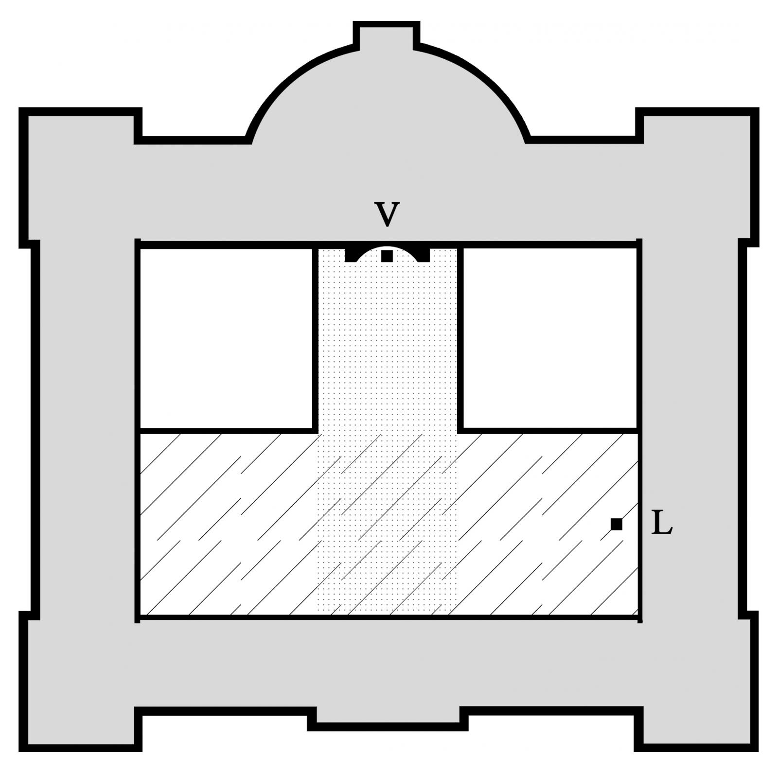 7 il. Vytauto Didžiojo muziejaus planas su išskirta centrine interjero zona. Vytauto kapelos patalpa pažymėta taškais, o Didžiosios Karo muziejaus salė brūkšniais. V - Vytauto Didžiojo statulos vieta, L – Laisvės statulos kopijos vieta. Pagal Audriaus Novicko sumanymą atliko Kipras Dubauskas