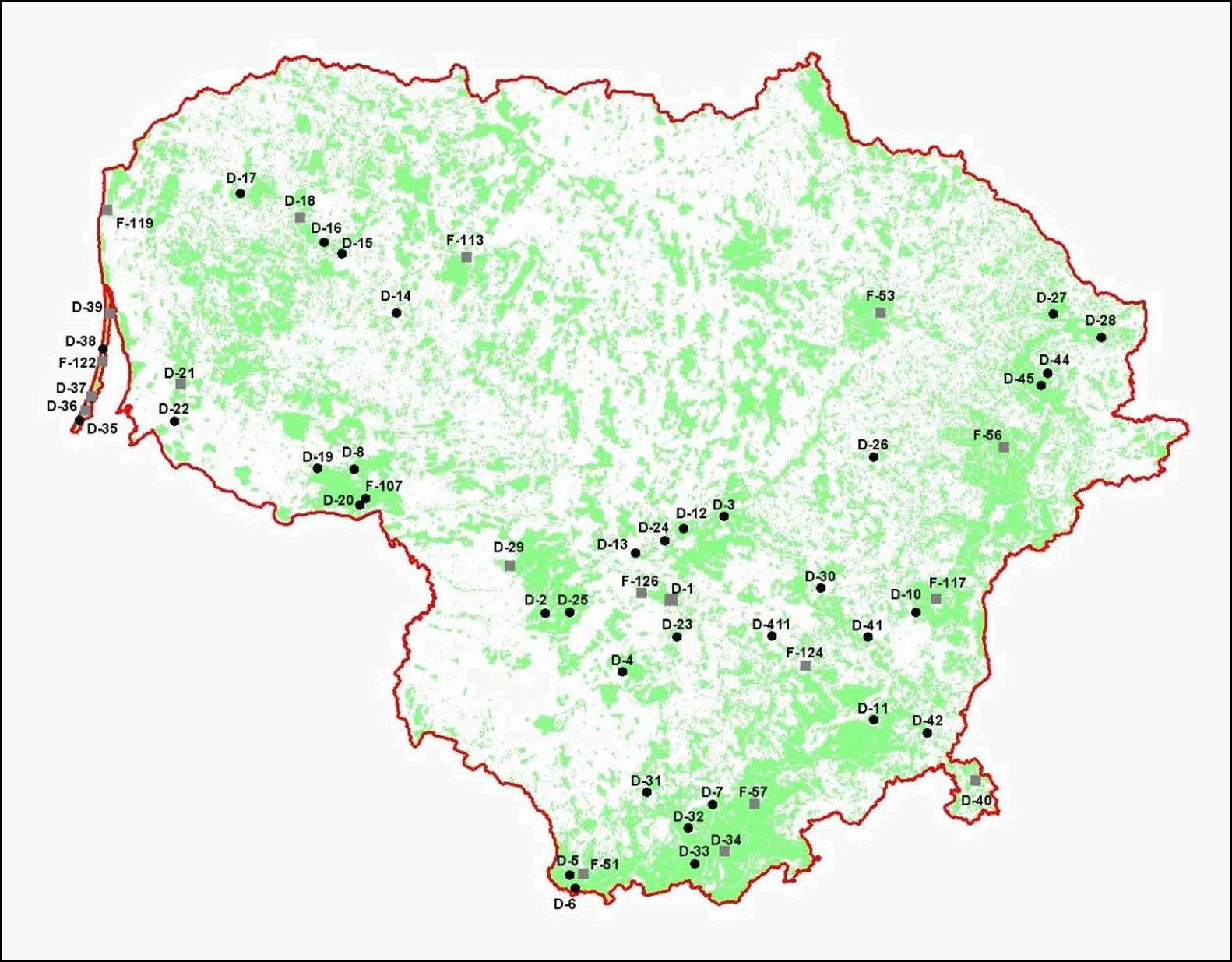 1 pav. Miško smėlžemių tyrimo profiliai Lietuvoje