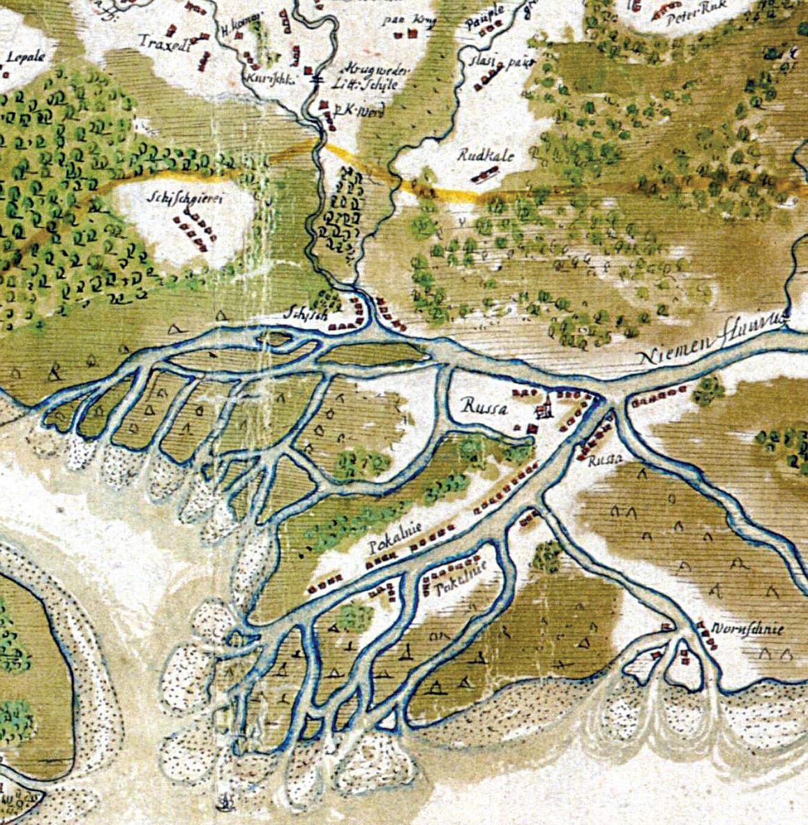 1 pav. Juozapo Narūnavičiaus-Naronskio Klaipėdos valsčiaus žemėlapio fragmentas (apie 1670 m.), kuriame matyti Šyšos (Schisch) kaimas / Fig. 1. Part of Juozapas Narūnavičius-Naronskis' Map of the Memel District (ca 1670) showing the village of Schisch (Šyša)